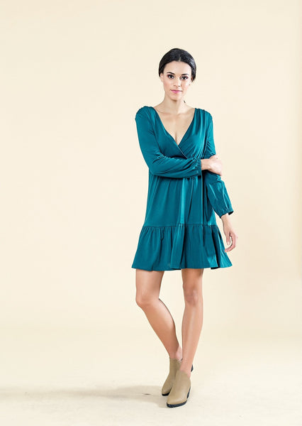 CROSS OVER DRESS WITH BELL SLEEVES