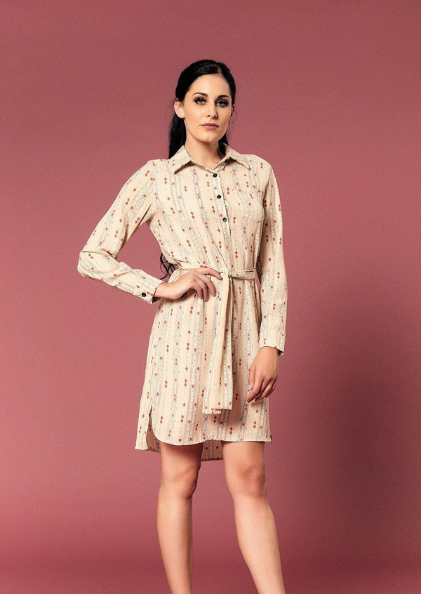 LONG SLEEVE SHIRT DRESS WITH BELT - Envy online clothing store south africa