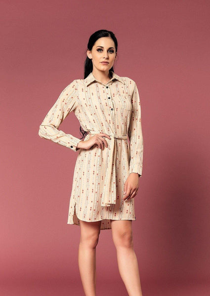 LONG SLEEVE SHIRT DRESS WITH BELT - Envy
