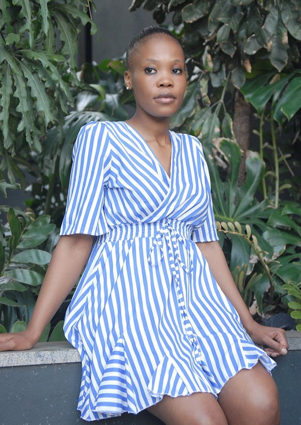 Summer Striped Dress Royal Blue