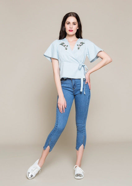 DENIM WRAP TOP WITH EMBROIDERY