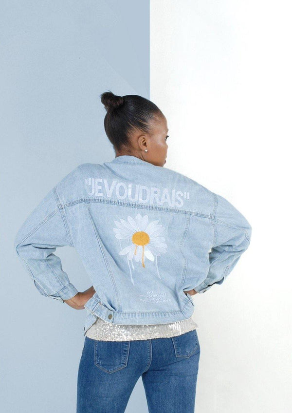 JE VOUDRAIS Peace Denim Jacket - Envy - online clothing