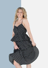 Beatrice Layered Midi Dress in Black Polka Dot - Envy - online clothing