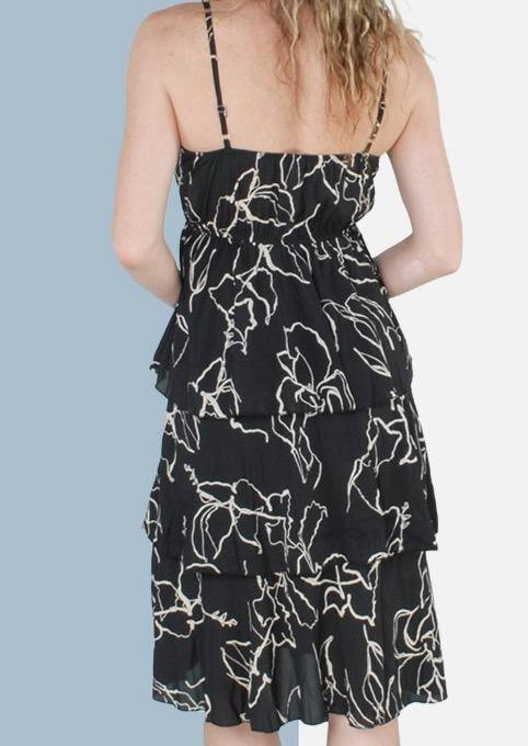 Isabella Tiered Sleeveless Dress in Black - Envy - online clothing