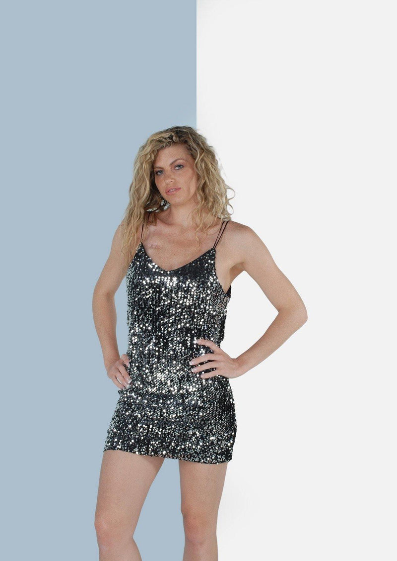 Jacinta Sequence Mini Dress in Silver - Envy - online clothing