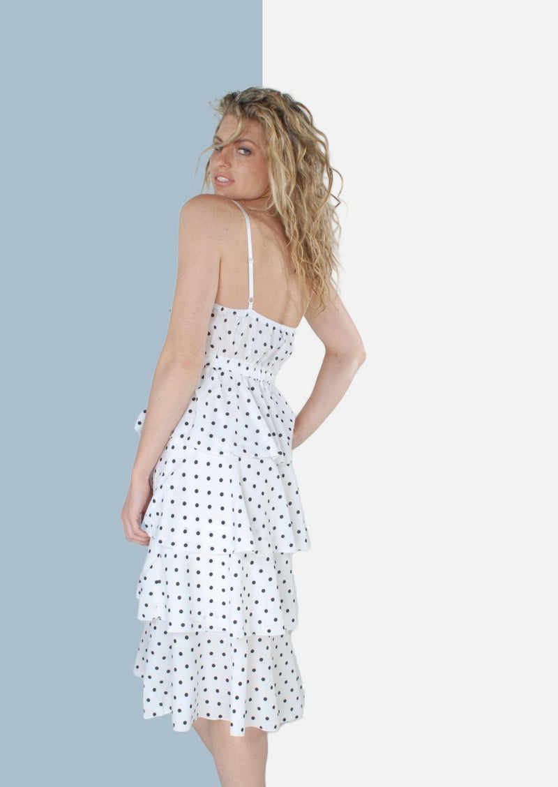 Beatrice Layered Midi Dress in White Polka Dot - Envy - online clothing