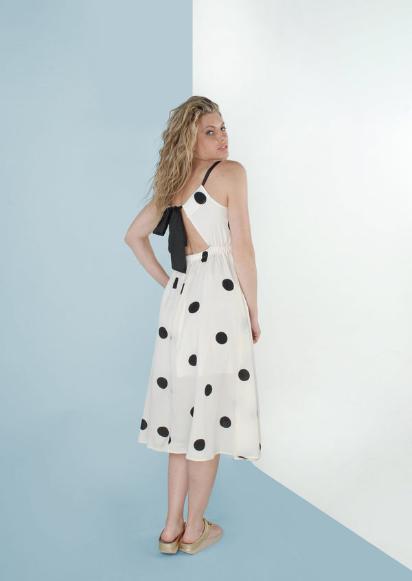 Ophelia Ivory Polka Dot Dress