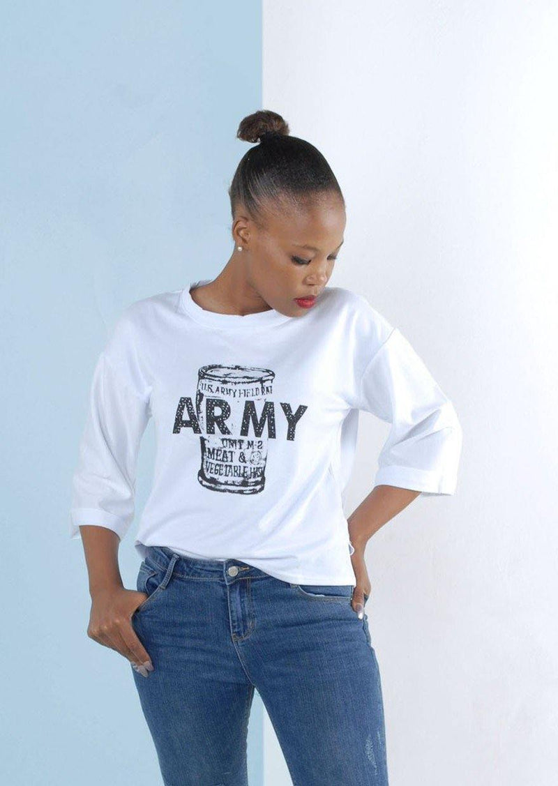 Army Short Sleeve Sweat Shirt in White - Envy - online clothing