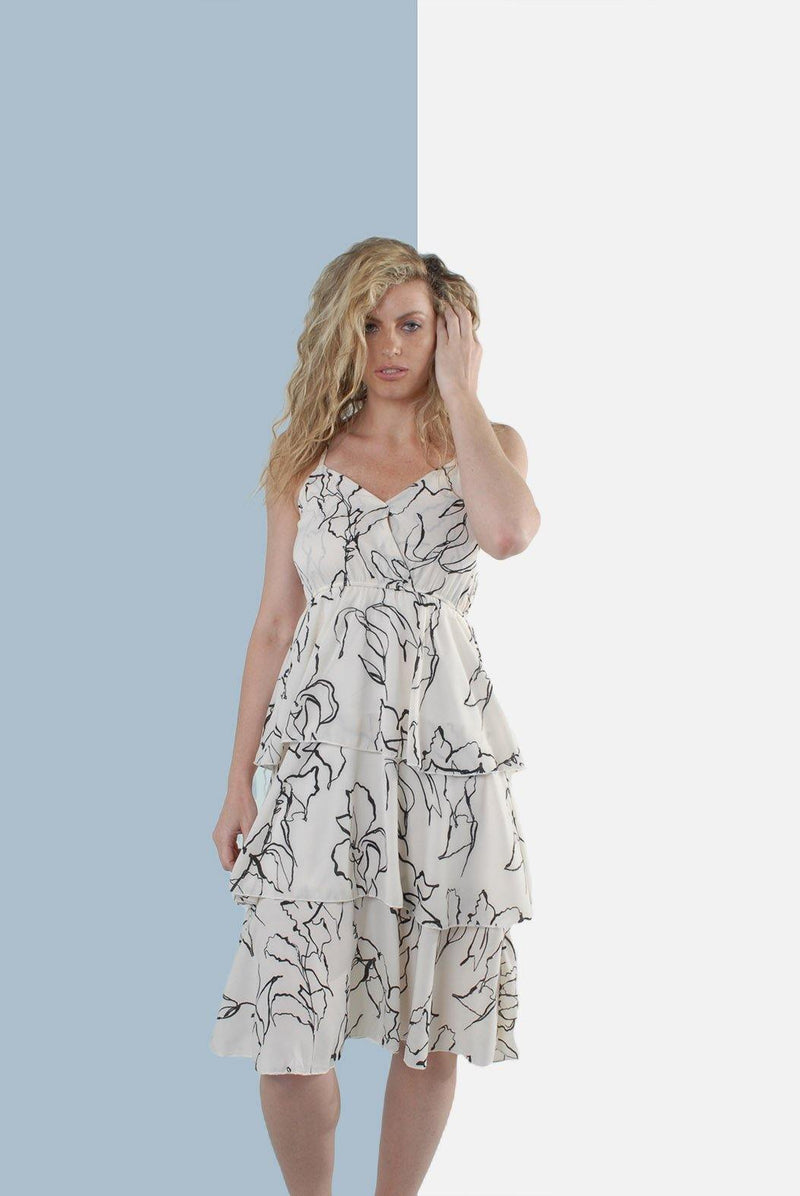 Isabella Tiered Sleeveless Dress in Ivory - Envy - online clothing