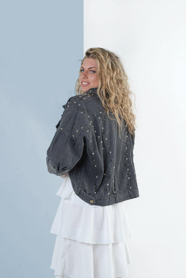 Elise Crop Black Denim Jacket with Stud Detail - Envy - online clothing