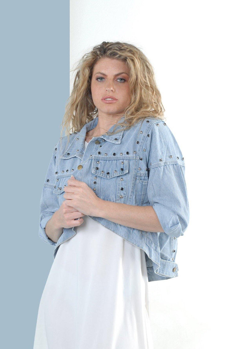 Elise Crop Blue Denim Jacket with Stud Detail - Envy - online clothing