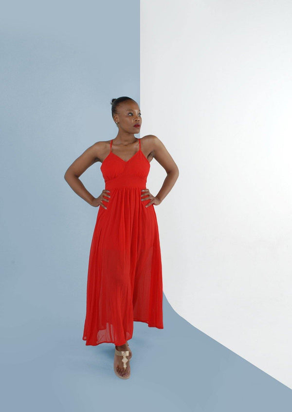 Fiora Maxi Dress in Vibrant Red - Envy - online clothing