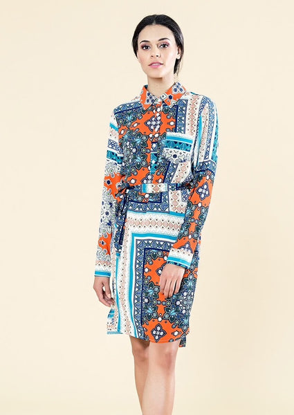 PRINTED SHIRT DRESS WITH COLLAR AND BUTTONS DETAIL - W16003-L-BL/WH