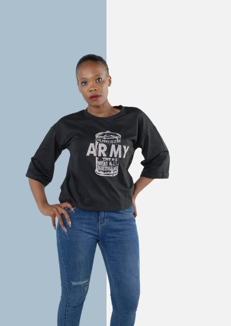 Army Short Sleeve Sweat Shirt in Black - Envy - online clothing