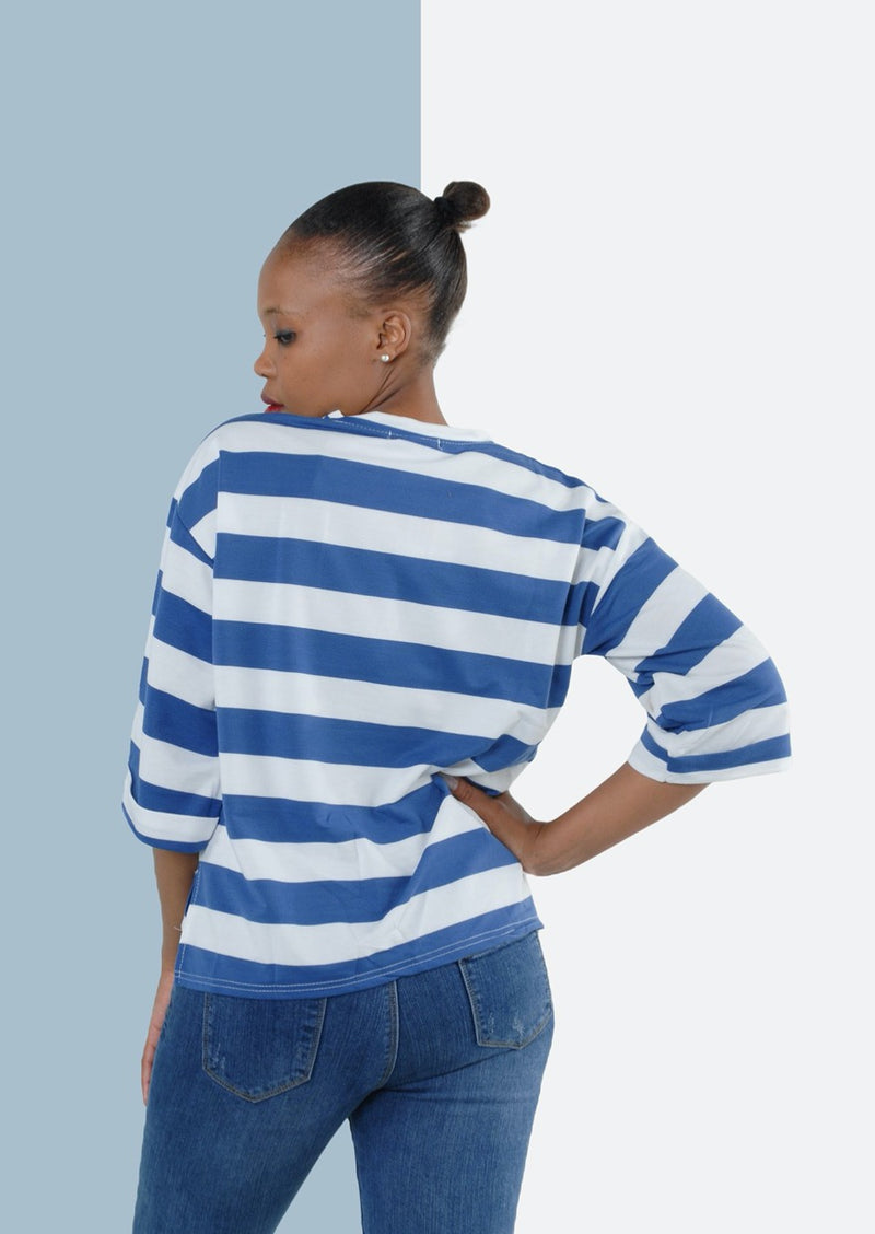 Nautical Loose Fitting Three Quarter Top in Blue