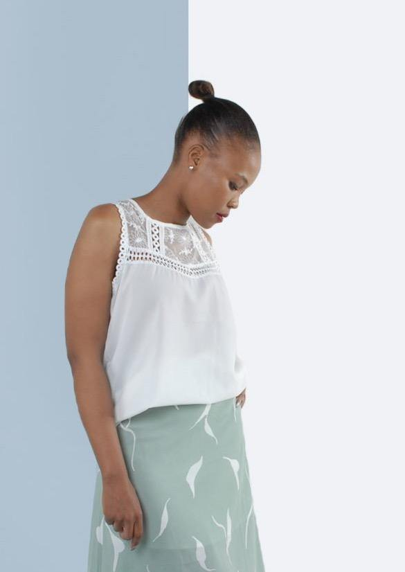 Chleo Sleeveless Blouse with Crochet Detail - Envy - online clothing