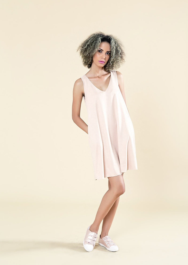A-Line Suede Dress With V-Neck - Envy - online clothing