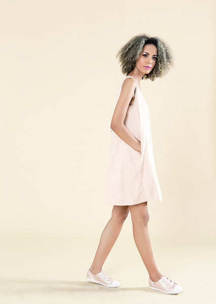 A-Line Suede Dress With V-Neck