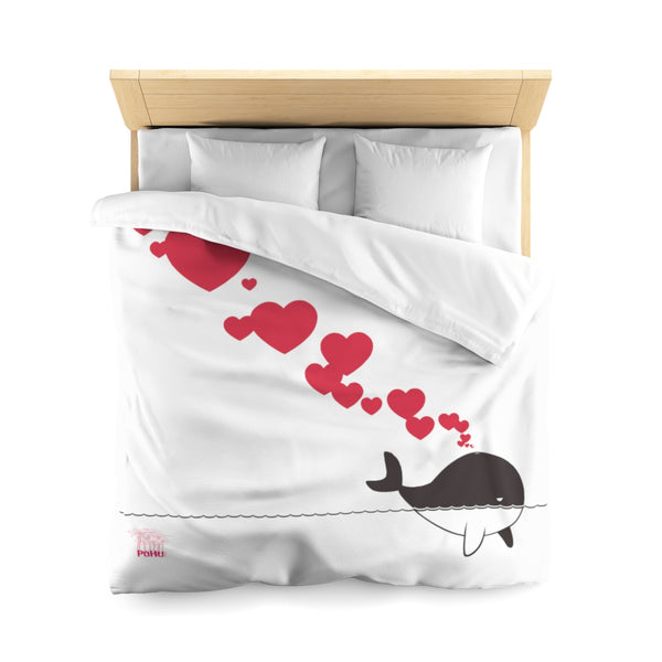 PoHuLocal-Whales In Love Microfiber Duvet Cover