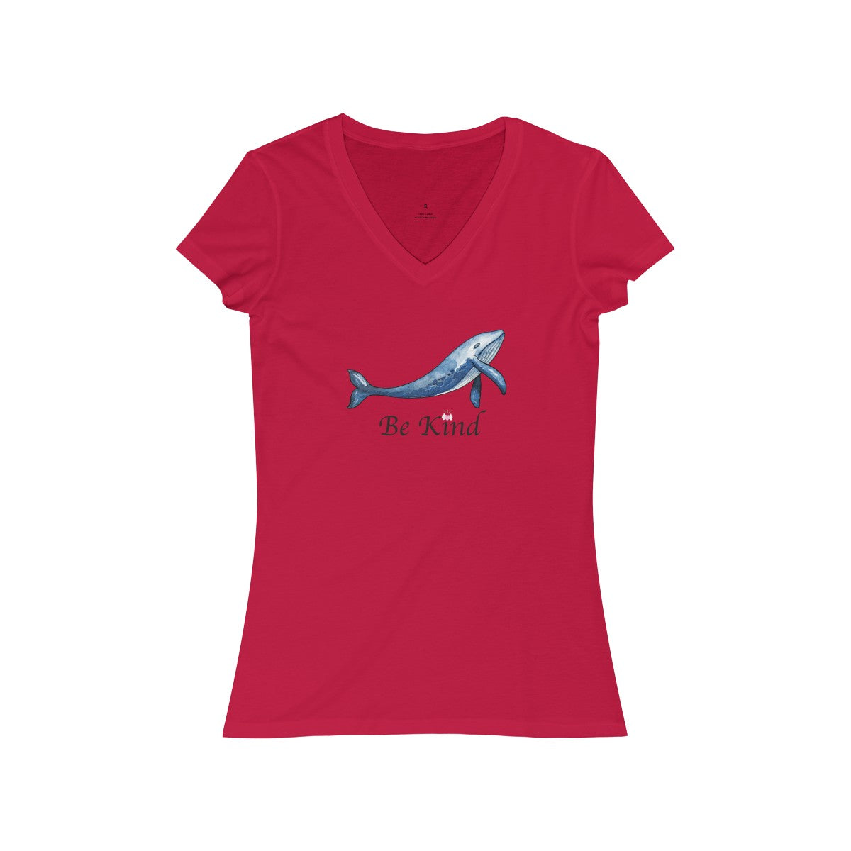 PoHuLocal-Whale Be Kind Women's Jersey Short Sleeve V-Neck Tee