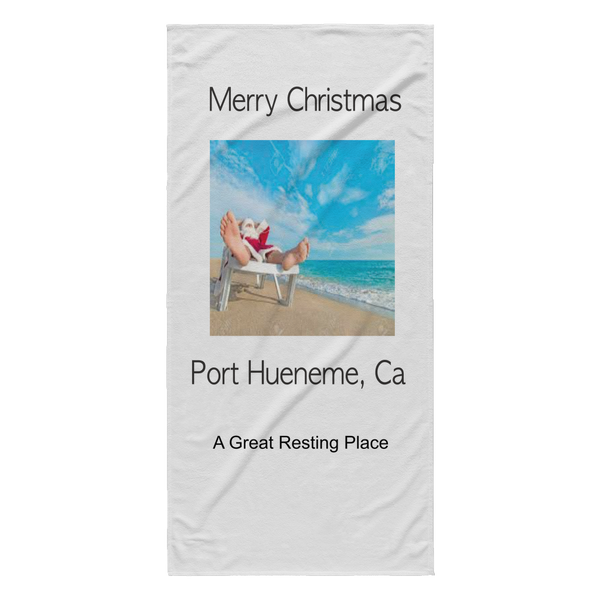 Merry Christmas Port Hueneme Beach Towel with Resting Santa-PoHuLocal