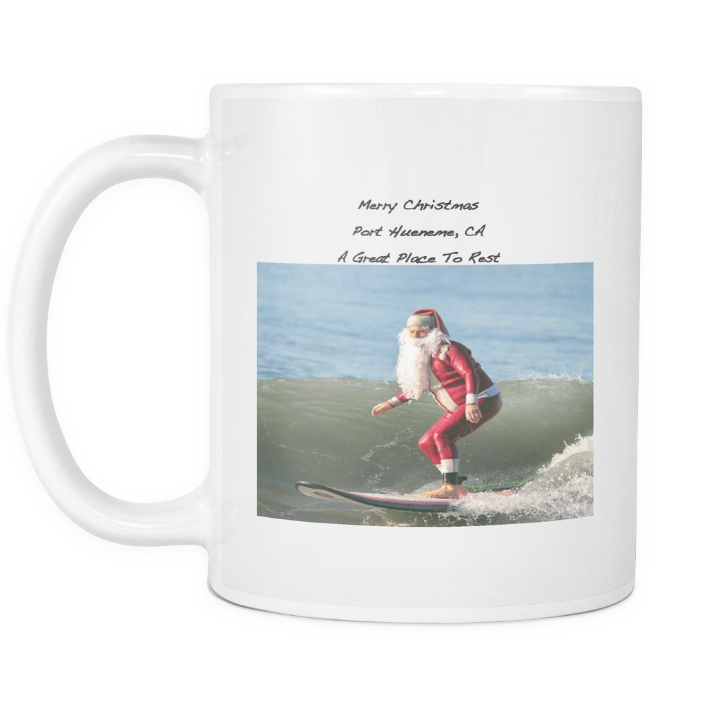 Printed Ceramic Coffee Surfing Santa Christmas Mug - PoHuLocal