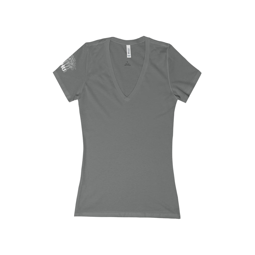Vanessa Logo Design Women's Deep V-Neck Tee White Logo-PoHuLocal