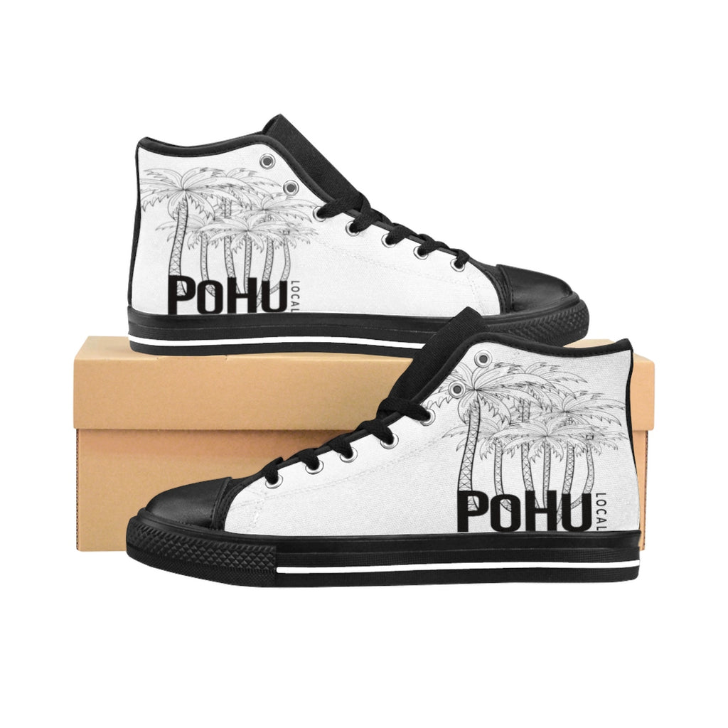 PoHuLocal-Women's High-top Sneakers Black