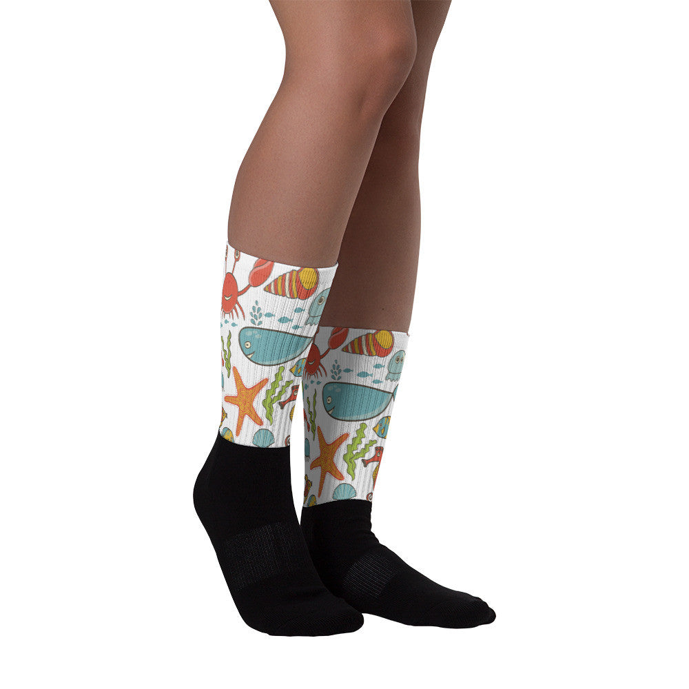 Under The Sea Black Foot Socks-PoHuLocal