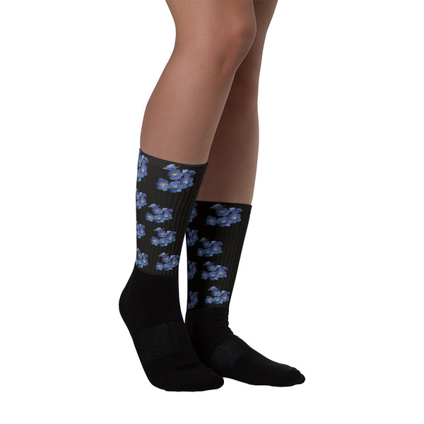 Forget Me Not Black Foot Happy Socks-PoHuLocal