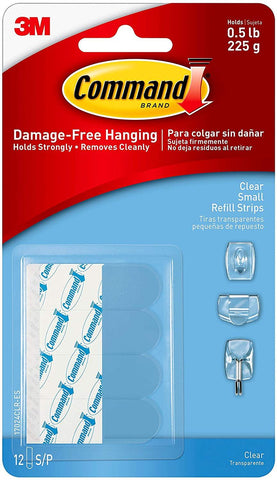 Command Poster Hanging Strips, 12 Strips, Clear, 17024CLR