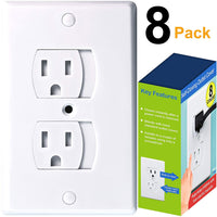 Universal Self-Closing Outlet Covers | Babyproofing Covers for Baby, Toddler and Children Safety (8 Pack)