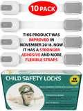Child Safety Locks -VALUE PACK (10 Straps)- No Tools or Drilling (Gray/White)