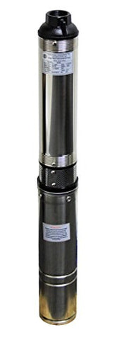 Hallmark Industries MA0419X-12A Deep Well Submersible Pump, 2 hp, 230V, 60 Hz, 35 GPM, 400' Head, Stainless Steel, 4""