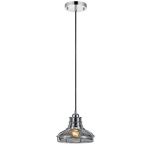 Versanora VN-L00031 Mini Chrome Illusione 1-Light Metal Pendant Lamp with Cage Finish | Vintage Style | Industrial Design for Modern Kitchens. Living Rooms and Bedroom