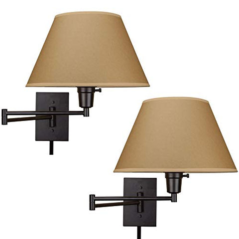 "Kira Home Cambridge 13"" Swing Arm Wall Lamp - Plug in/Wall Mount, Opaque Paper Shade, 150W 3-Way + Cord Covers, Black Finish, 2-Pack"