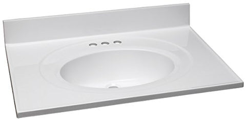 Design House 551374 31-Inch by 22-Inch Marble Vanity Top/Single Bowl, Solid White