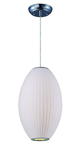 Maxim 12188WTPC Cocoon 1-Light Pendant, Polished Chrome Finish, Glass, MB Incandescent Incandescent Bulb , 60W Max., Dry Safety Rating, Standard Dimmable, Steel Mesh Shade Material, Rated Lumens
