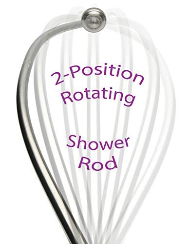 "Patented Curved Shower Rod – Rotates for Small Bathrooms | Curved Shower Curtian Rod Chrome | No Center ""Ledge"" to Catch Curtain 