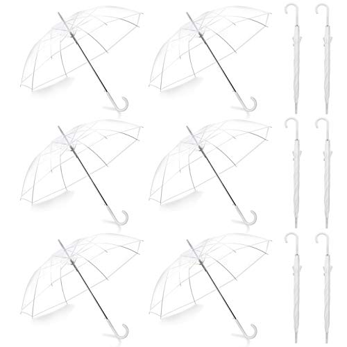 Pack of 11 Wedding Style Stick Umbrellas Large Canopy Windproof Auto Open J Hook Handle in Bulk (Crystal Clear)