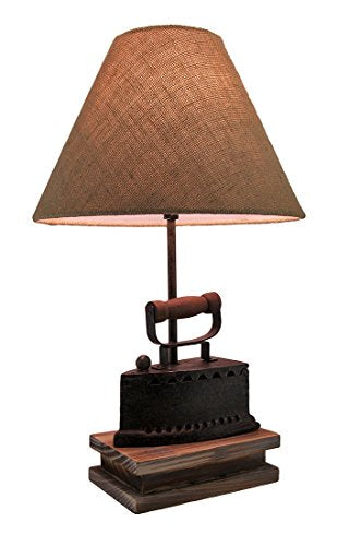 Faux Antique Finish Vintage Flat Iron Table Lamp w/Burlap Fabric Shade 20 Inch