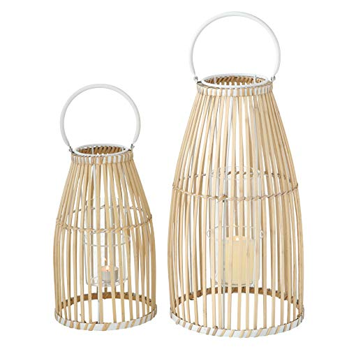 Missing one bamboo piece in one Lantern, Priced Accordingly. WHW Whole House Worlds Key West Bamboo Hurricane Lanterns, Set of 2, White Metal Frame, Loop Handle, Floating Glass Insert, 9 3/4 D x 17 1/4 T, and 7 D x 12 1/4 T Inches, Modern Tropical Design