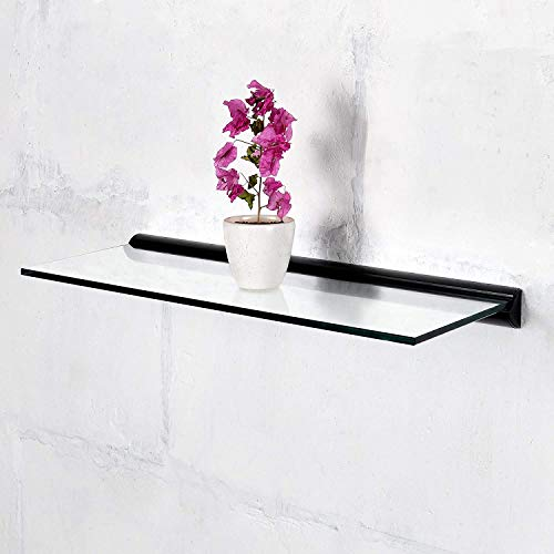 Deco Home Floating Tempered Glass Shelve 9 inch by 24 inch wth Black Brackets