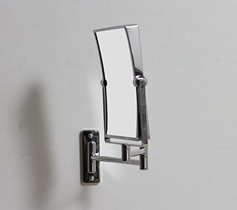 7.48-in. W Rectangle Brass-Mirror Wall Mount Magnifying Mirror In Chrome Color