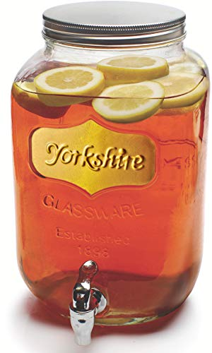 (Lid Damage, Still Functional) Circleware Sun Tea Mason Jar Glass Beverage Dispenser with Lid, Fun Party Home Entertainment Glassware Water Pitcher for Juice, Beer, Punch, Iced Tea & Cold Drinks, Huge 2 Gallon, Gold Yorkshire