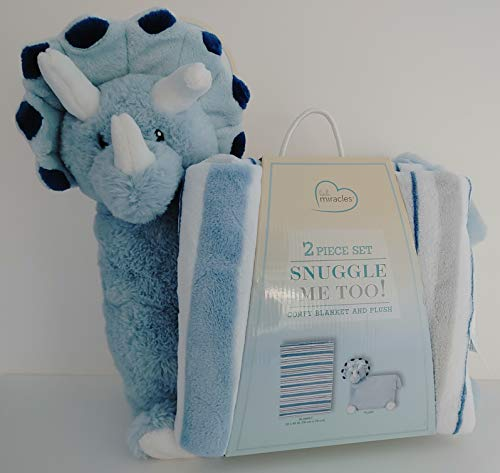 Little Miracles Snuggle Me Too! Comfy Blanket and Plush Dinosaur - Blue