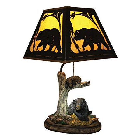 River's Edge Bear Table Lamp with Metal Shade