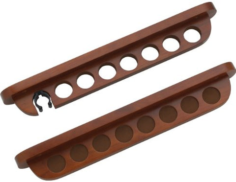 7 Pool Cue Stained Wood Wall Rack with Clip for Bridge Cue, Chocolate
