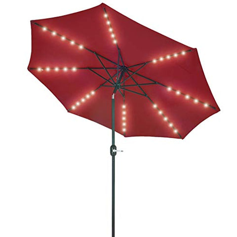 Patio Watcher 9-Ft Patio Umbrella 40 LED Lighted Solar Umbrella with Push Button Tilt and Crank, Outdoor Umbrella 8 Steel Ribs, Red