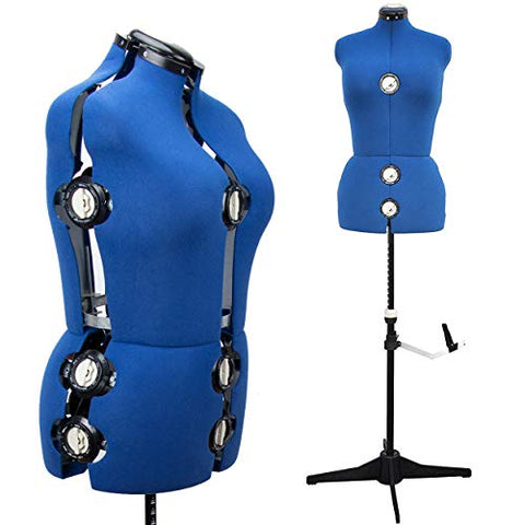 "(Missing Tripod Base) (Priced Accordingly) 13 Dials Female Fabric Adjustable Mannequin Dress Form for Sewing, Mannequin Body Torso with Tri-Pod Stand, Up to 70"" Shoulder Height. (Medium)"
